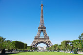 Eiffel tower and green Field of Mars in Paris