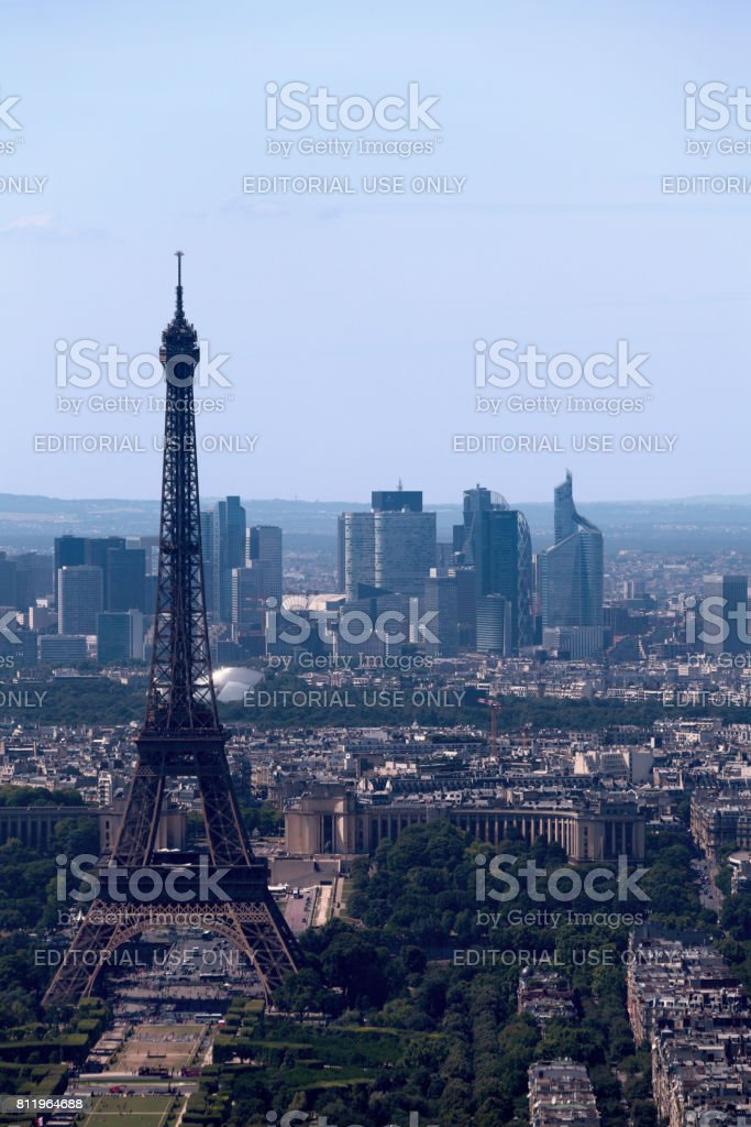 Eiffel Tower and La Défense stock photo