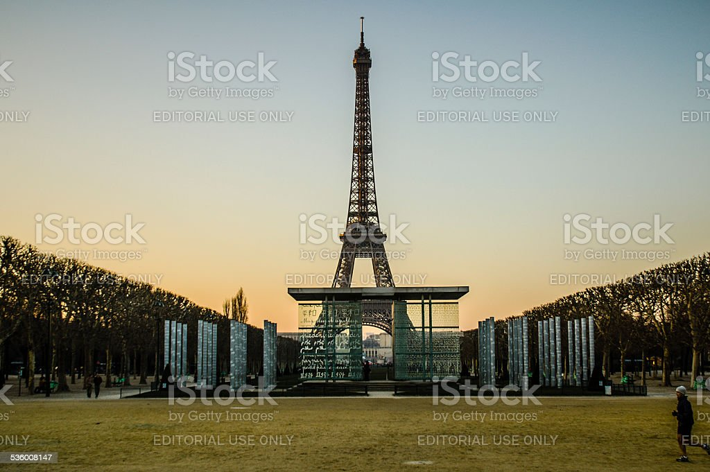 Eiffel Tower and Peace Memorial stock photo