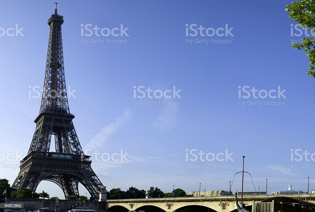 Eiffel Tower and Pont d'Iena royalty-free stock photo