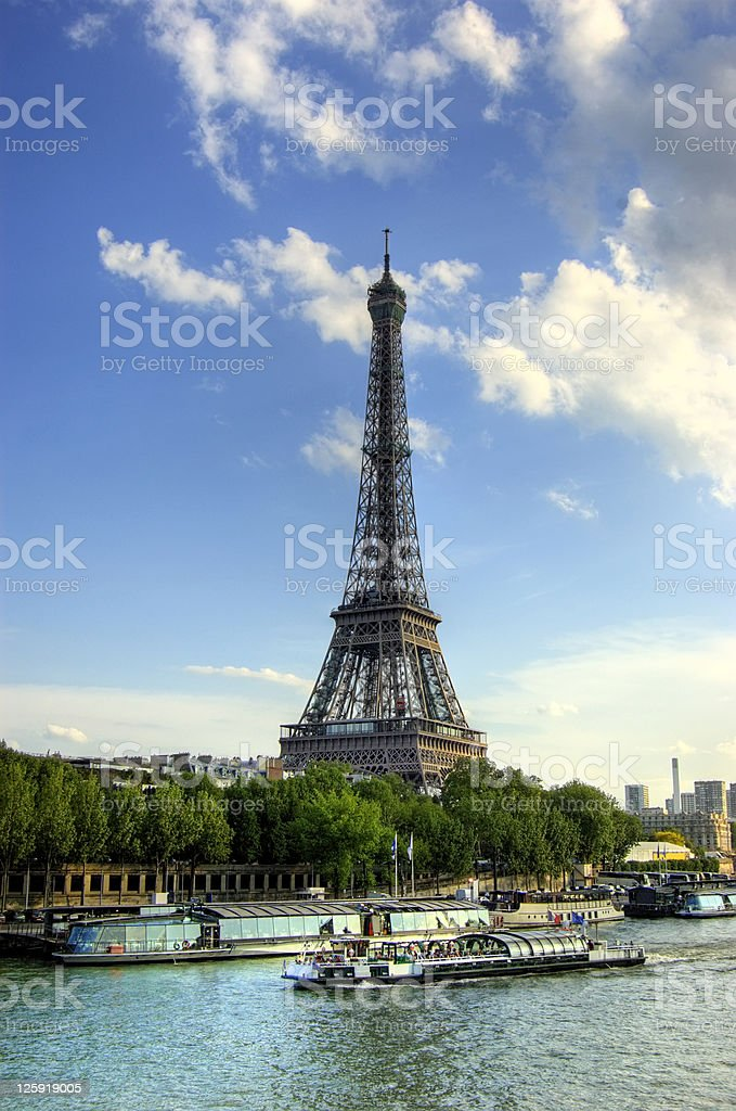 Eiffel Tower and Quay Seine River royalty-free stock photo