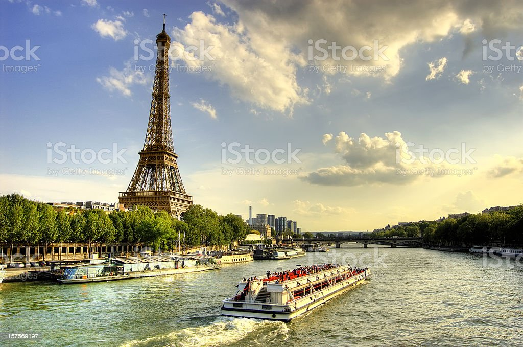 Eiffel Tower and Quay Seine River stock photo