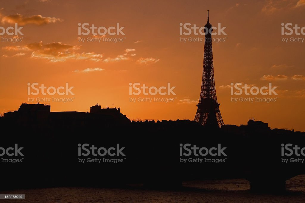 Eiffel Tower and Seine River at sunset royalty-free stock photo