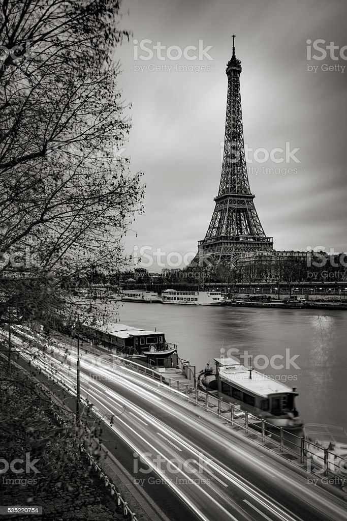Eiffel Tower and Seine River in early morning, Paris, France stock photo