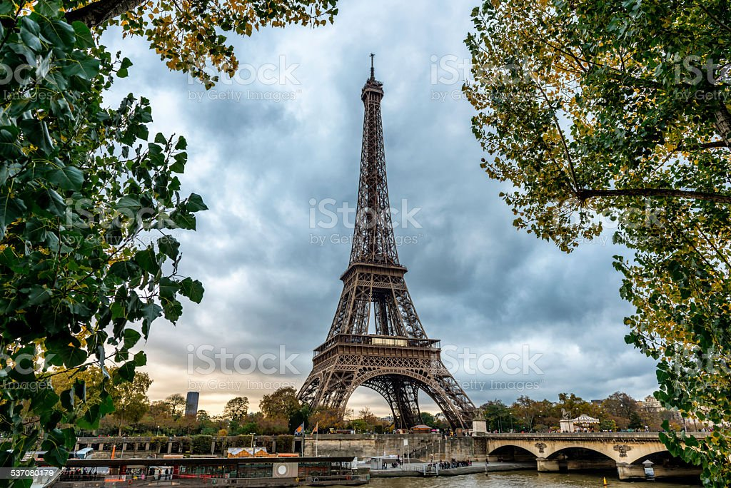 Eiffel Tower and Seine river, Paris - France stock photo