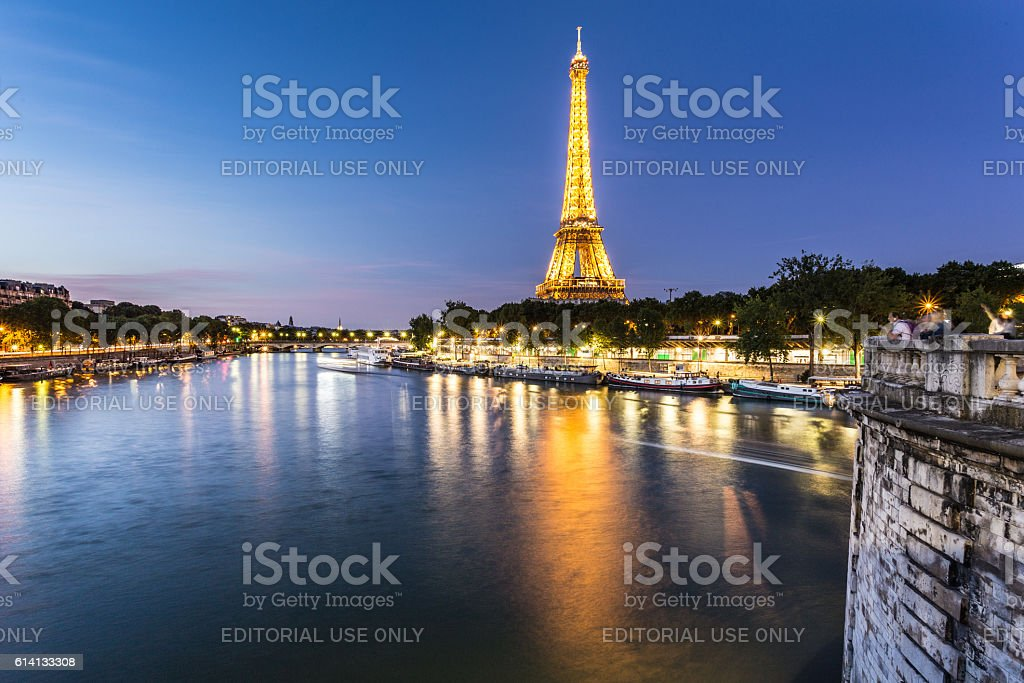 Eiffel Tower and the Seine river in Paris stock photo