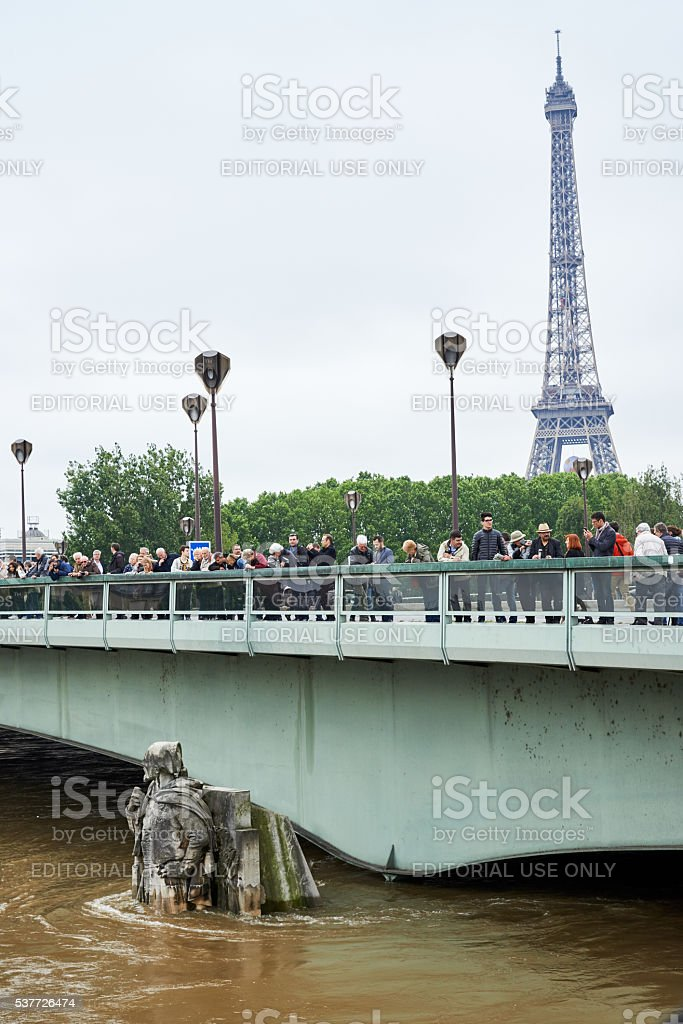 Eiffel tower and The Zouave statue on the Pont d'Alma royalty-free stock photo