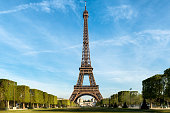 Eiffel tower at morning time in Paris, France.