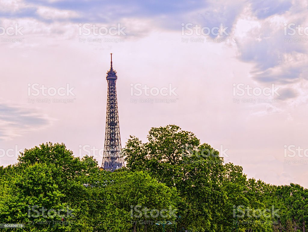 Eiffel Tower at sunset under cloudy sky in Paris,France stock photo