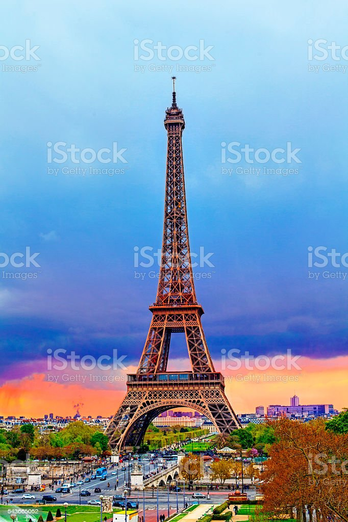Eiffel tower at  suset in Paris, France stock photo