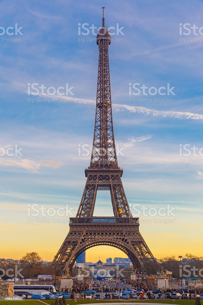 Eiffel tower at winter suset in Paris, France stock photo