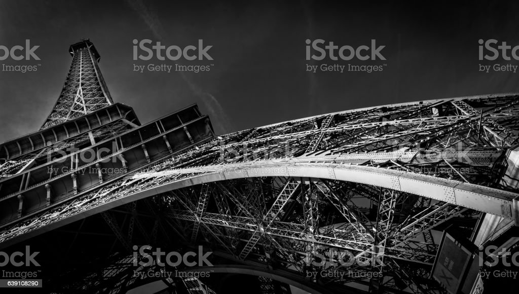 Eiffel Tower Black and White stock photo