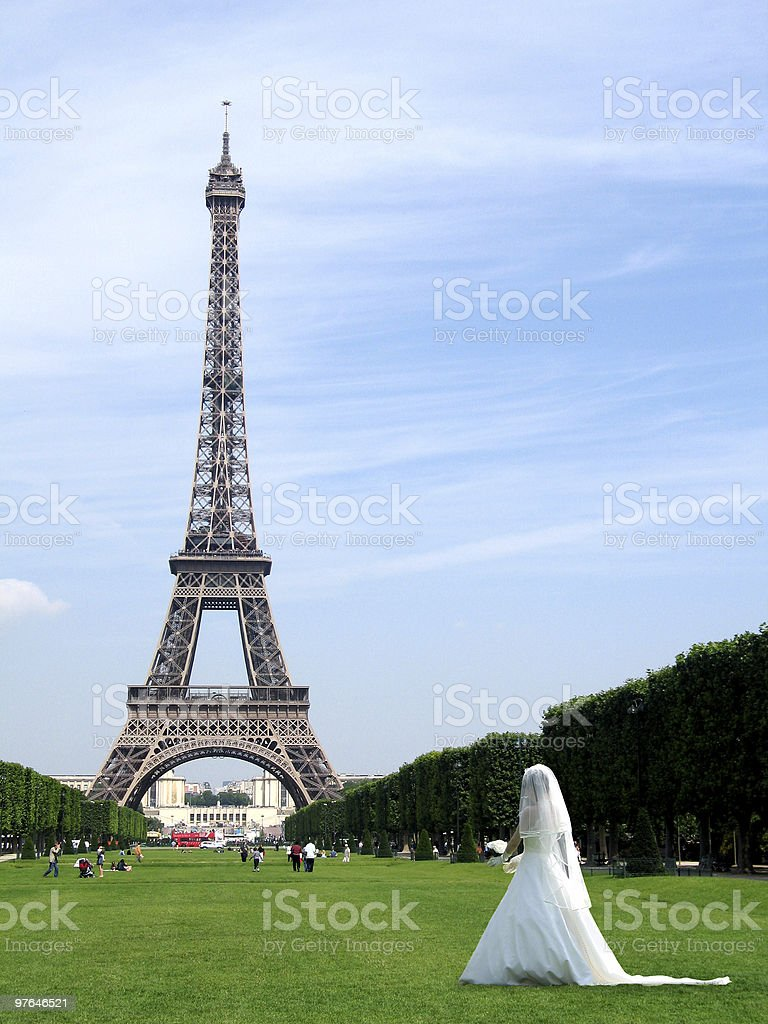 eiffel tower with bride stock photo