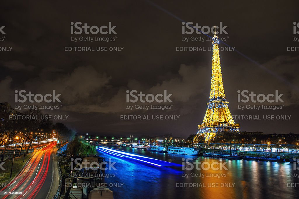 Eiffel tower by night. stock photo