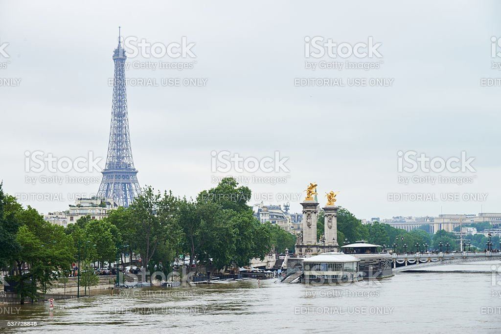 Eiffel tower during Paris floods royalty-free stock photo