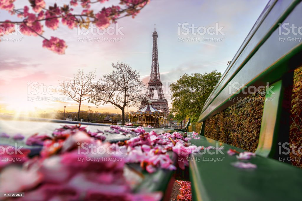 Eiffel Tower during spring time in Paris, France stock photo