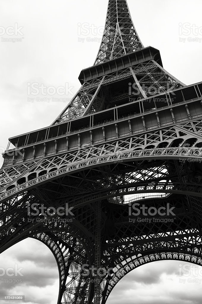 Eiffel Tower From Below Black and White royalty-free stock photo