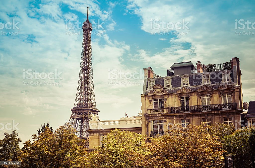 Eiffel Tower from low angle,France stock photo