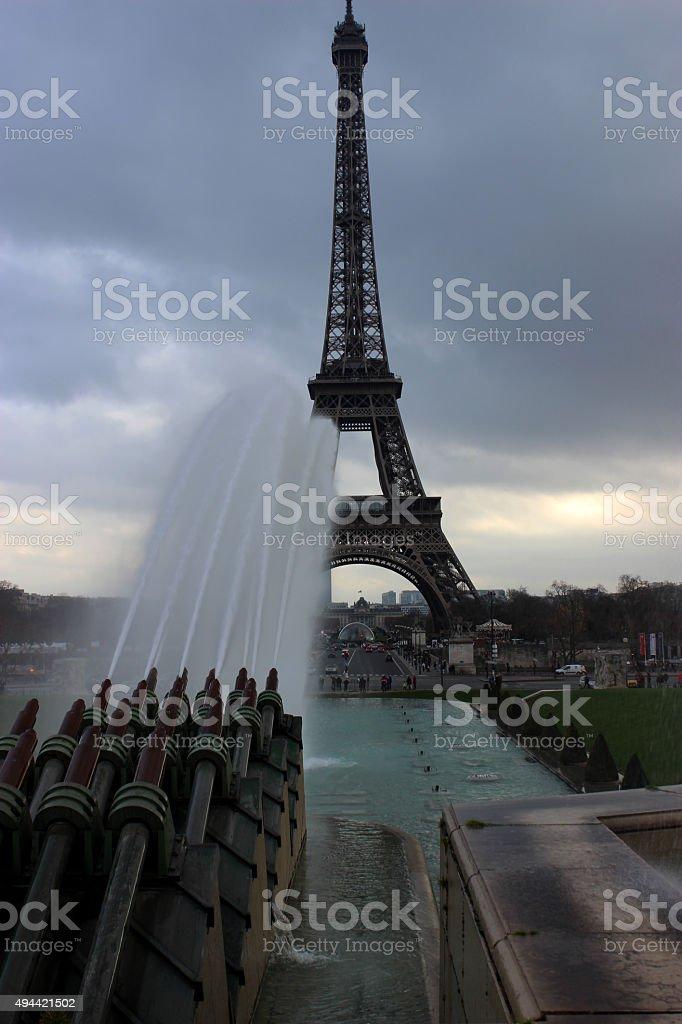 에펠탑 이 파운턴 royalty-free 스톡 사진