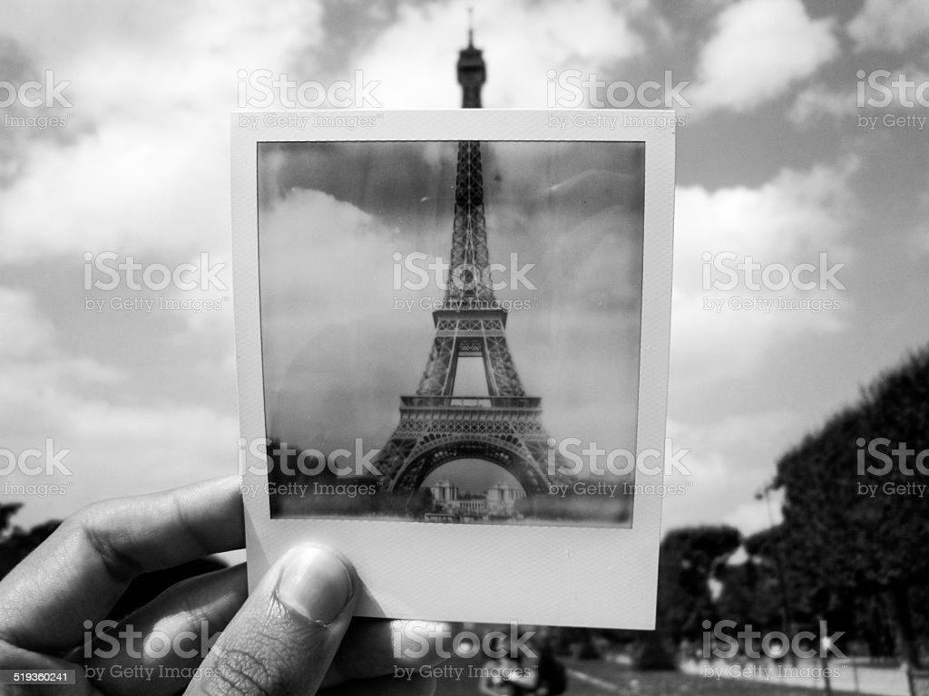Eiffel Tower in a Polaroid stock photo