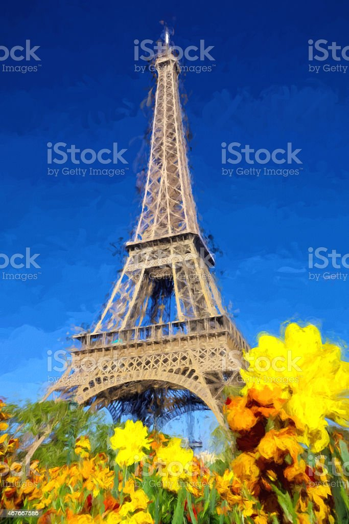 Eiffel Tower in Artwork style in Paris, France stock photo