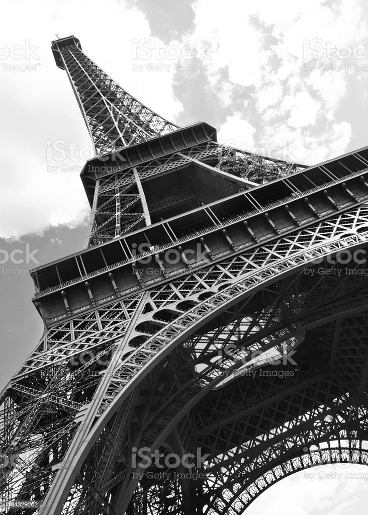 Eiffel Tower in Black and White royalty-free stock photo