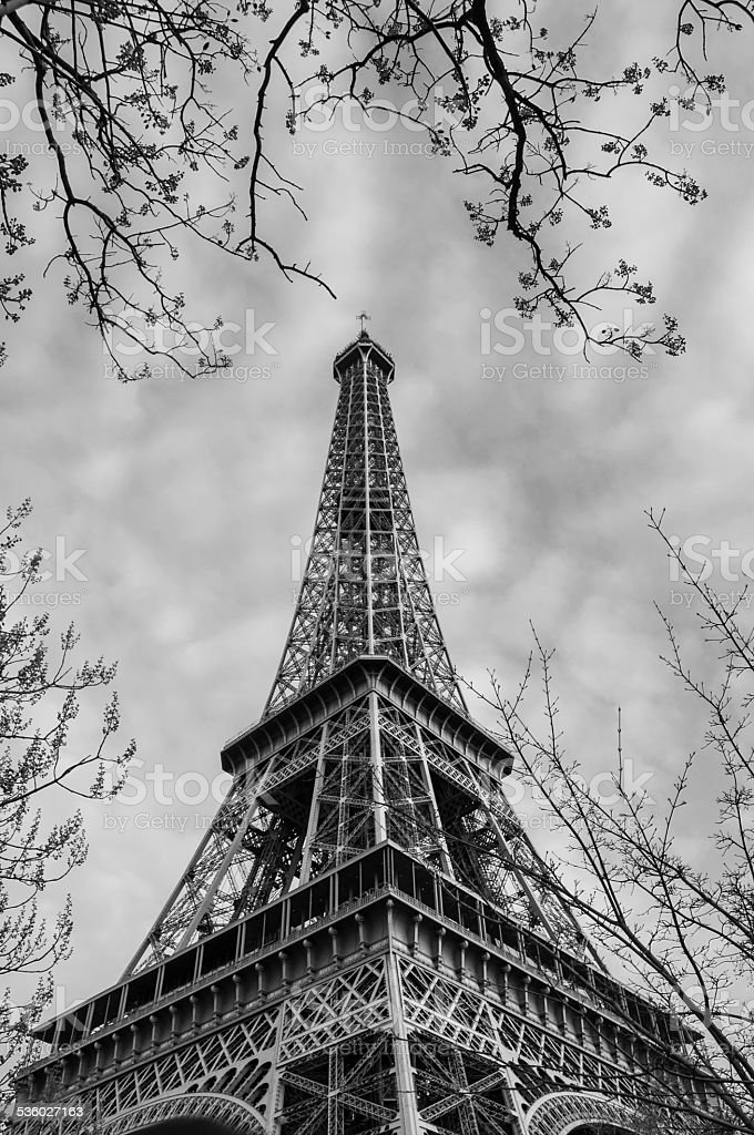 eiffel tower in black and white stock photo