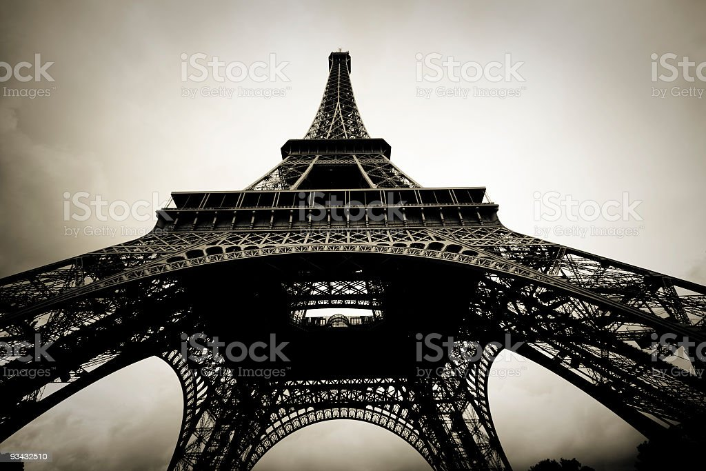 Eiffel Tower in black and white sepia toned royalty-free stock photo