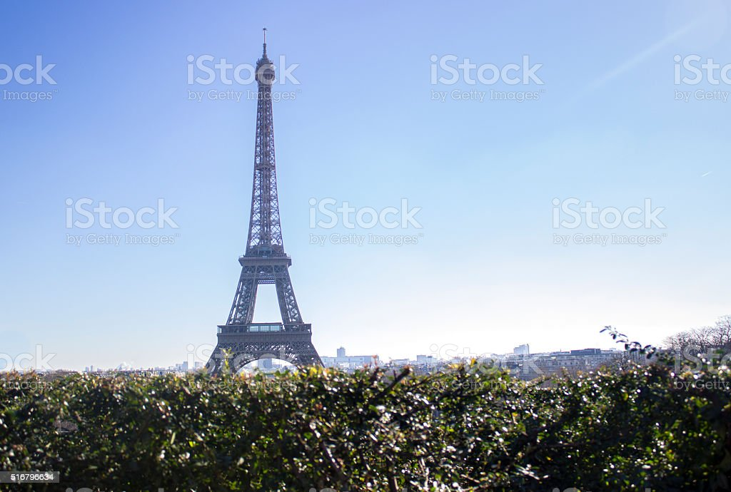 Eiffel tower in clear sky stock photo