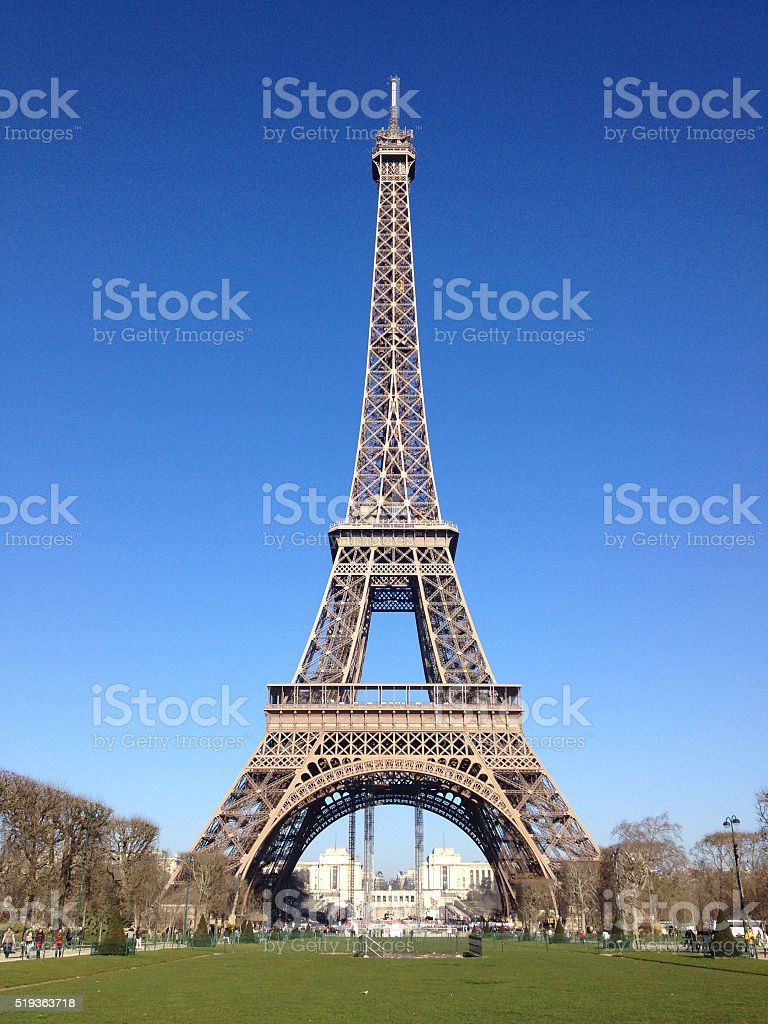 Eiffel Tower in March stock photo