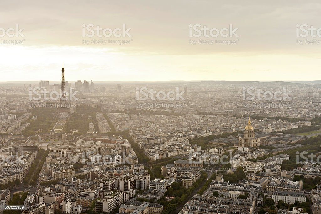 Eiffel Tower in Paris at atmospheric dusk royalty-free stock photo