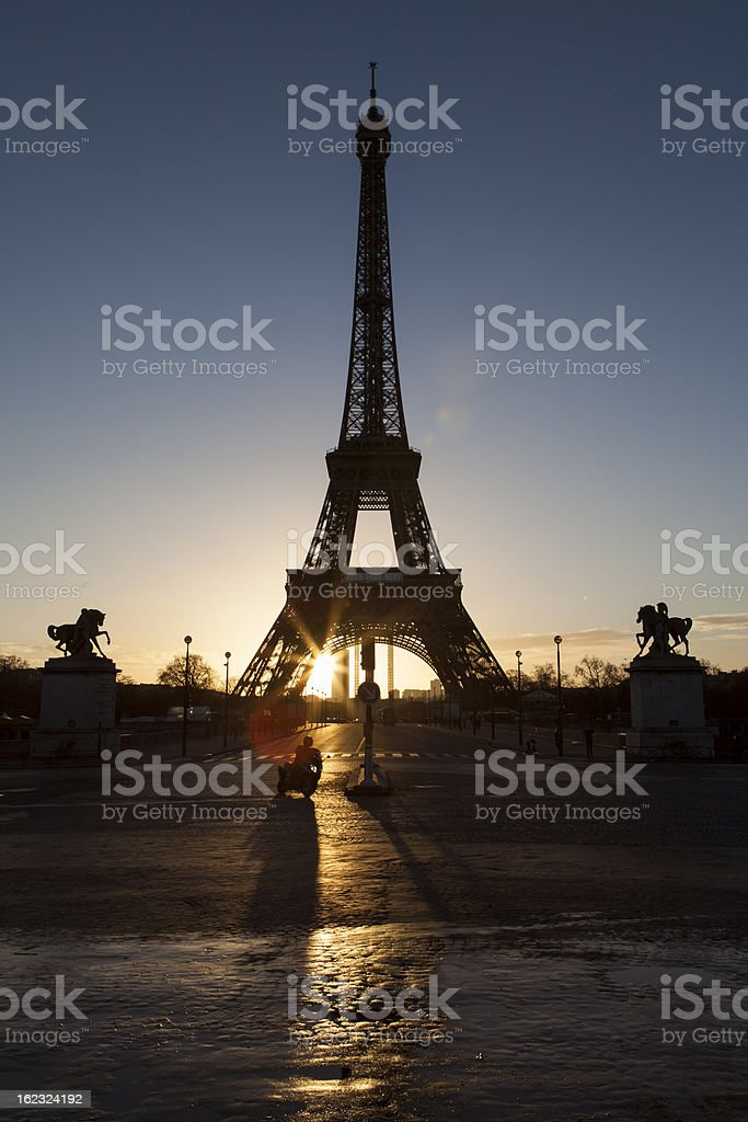 Eiffel Tower in Paris on the sunrise stock photo
