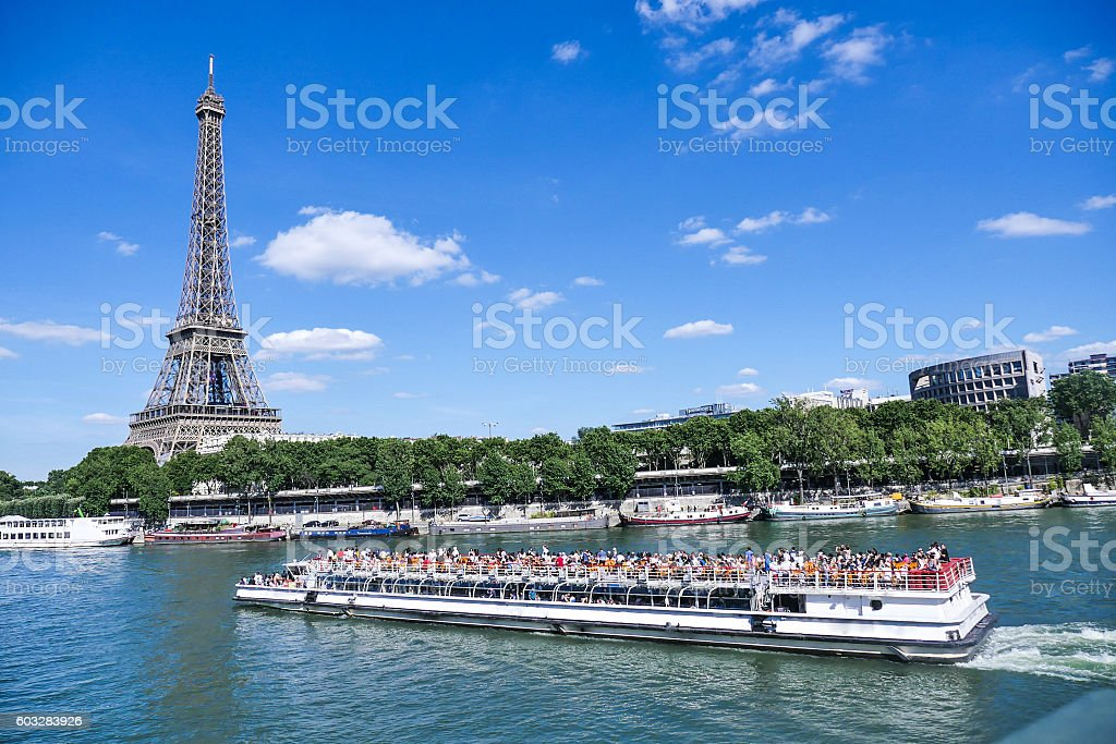 Eiffel Tower in Paris with Seine, France stock photo