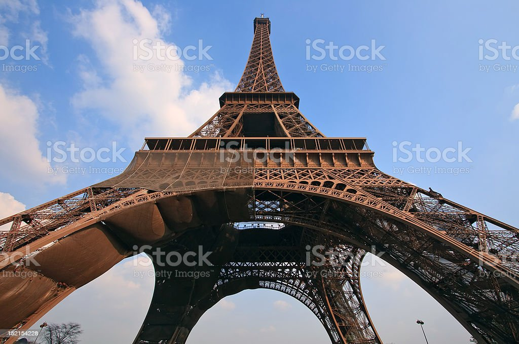 Eiffel tower in Paris with wide angle central perspective. royalty-free stock photo