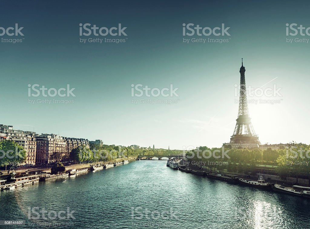 Eiffel tower in sunrise time stock photo