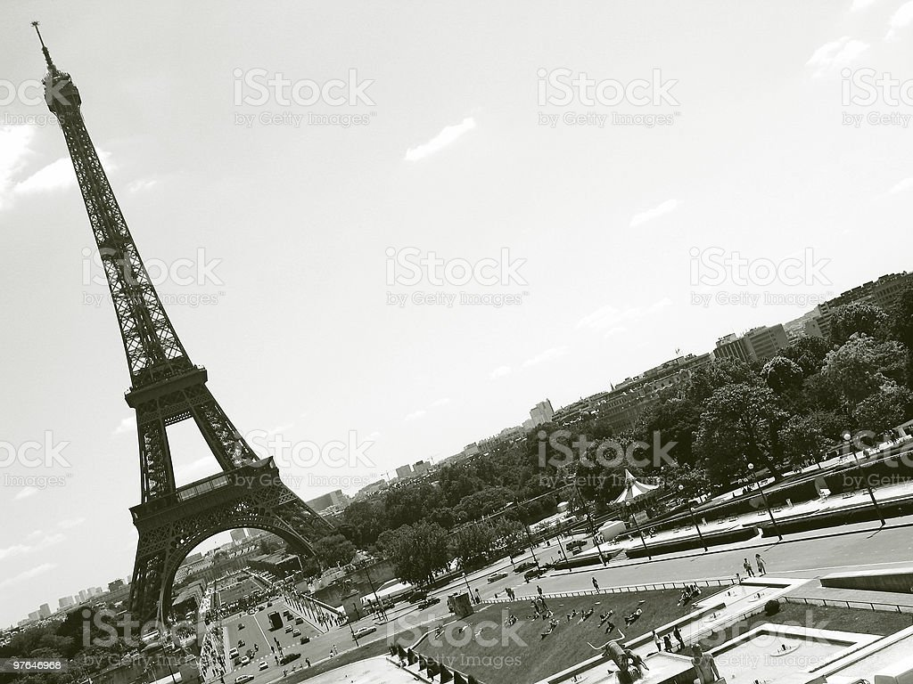 eiffel tower landscape angled vintage royalty-free stock photo