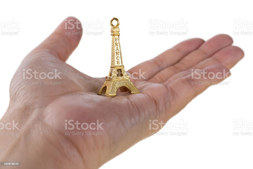 Eiffel Tower on hand stock photo