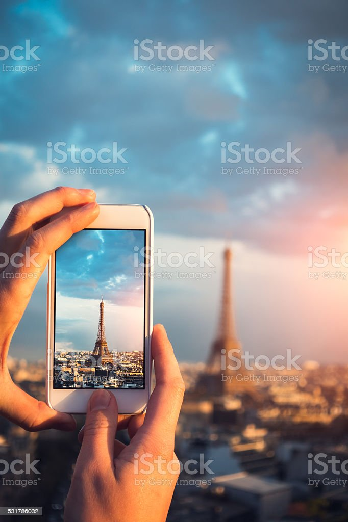 Eiffel Tower On Smart Phone stock photo