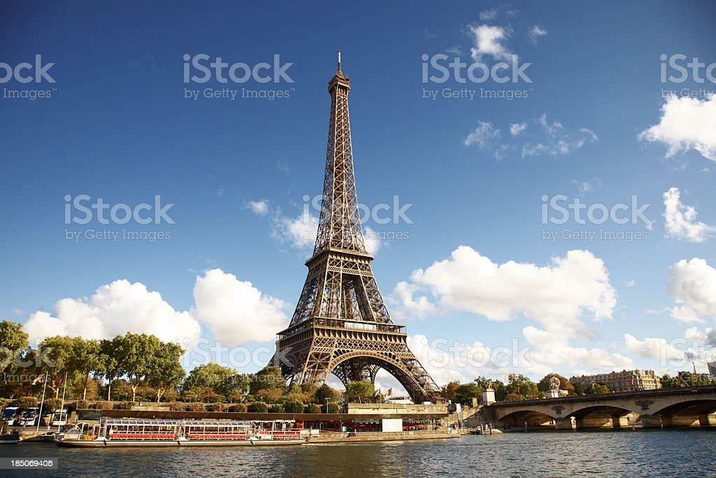Eiffel Tower on the bank of river seine royalty-free stock photo