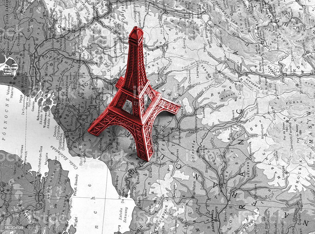 Eiffel tower on the black-white map royalty-free stock photo