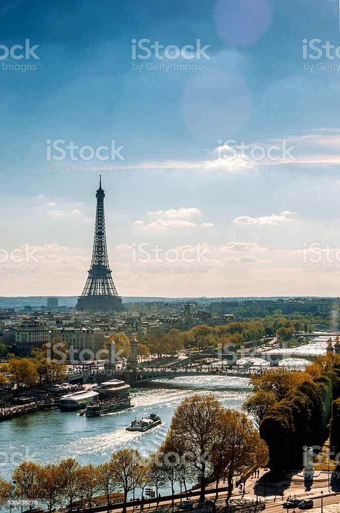 Eiffel Tower on the Seine river in Paris,France stock photo