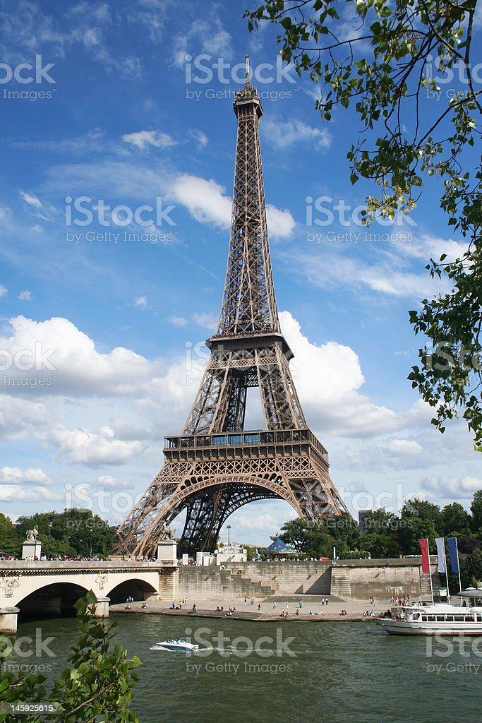 Eiffel Tower over the river Sene. Paris, France stock photo