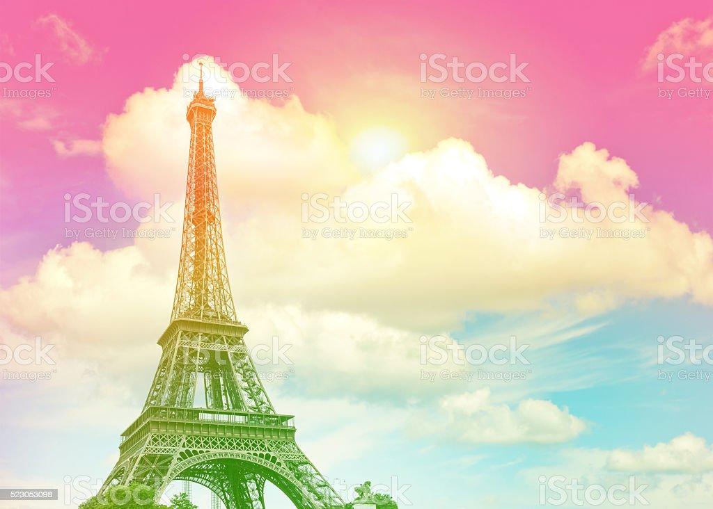 Eiffel Tower Paris against colorful blue sunset sky stock photo
