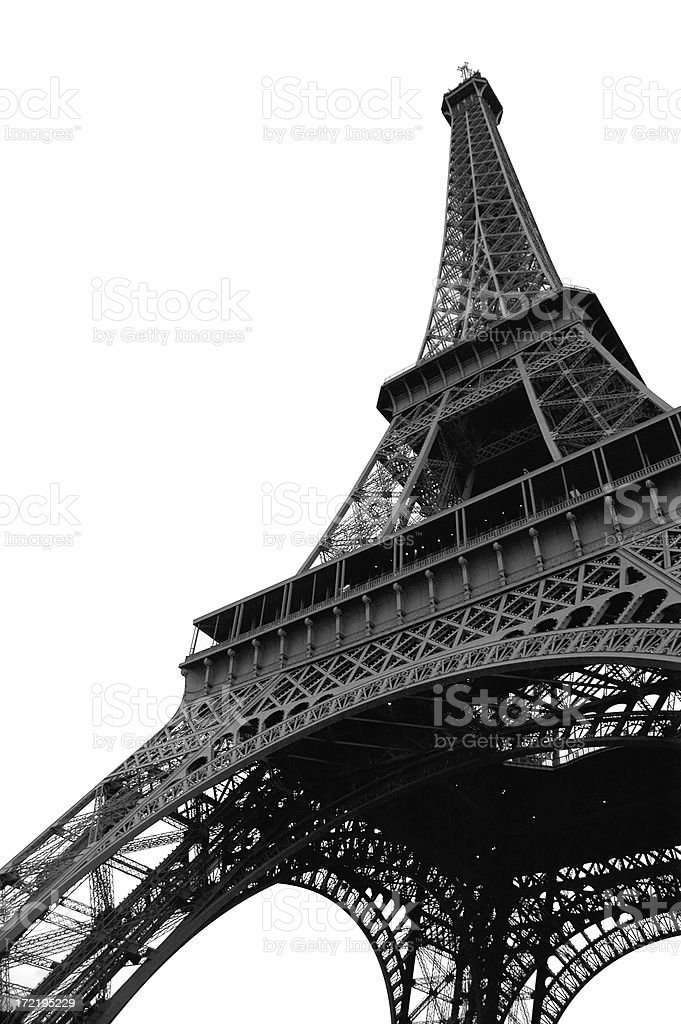 Eiffel Tower, Paris, France in Black & White royalty-free stock photo