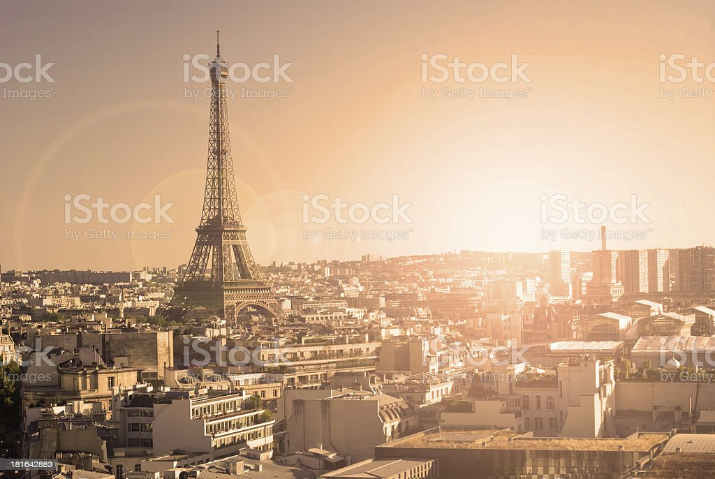 Eiffel Tower, Paris, panoramic view from Triumphal Arch stock photo