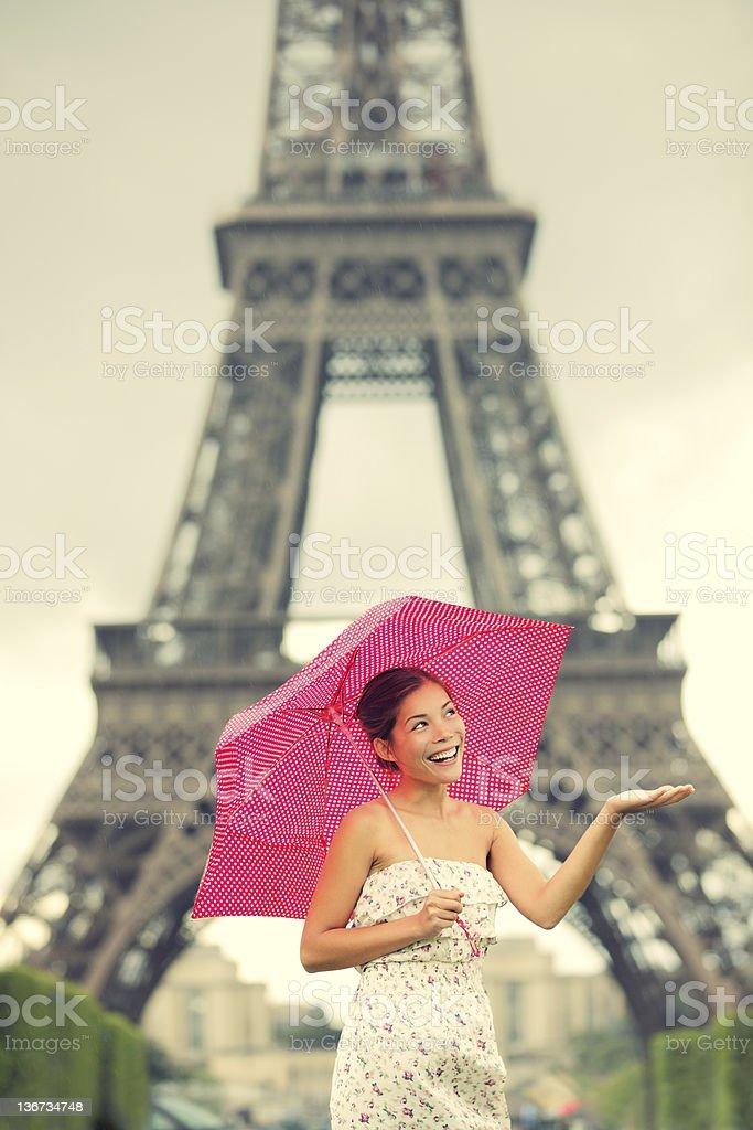 Eiffel Tower Paris woman royalty-free stock photo