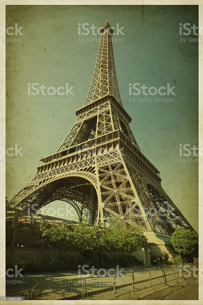 Eiffel tower. Photo in retro style. Paper texture. stock photo