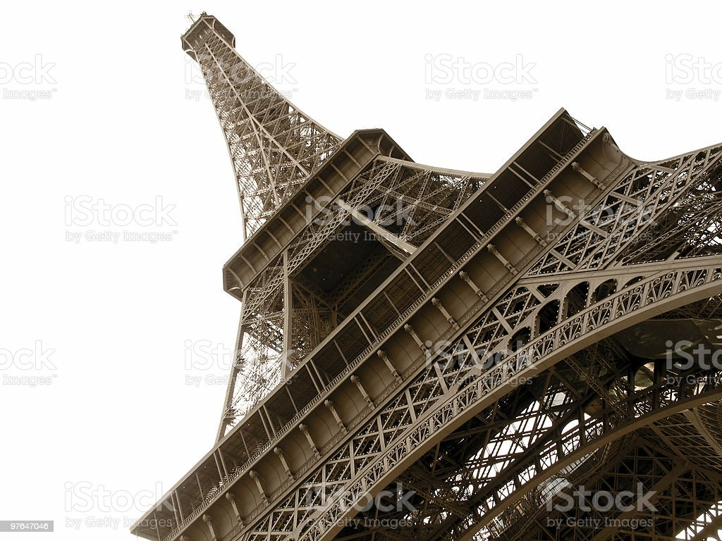 eiffel angled brown royalty-free stock photo