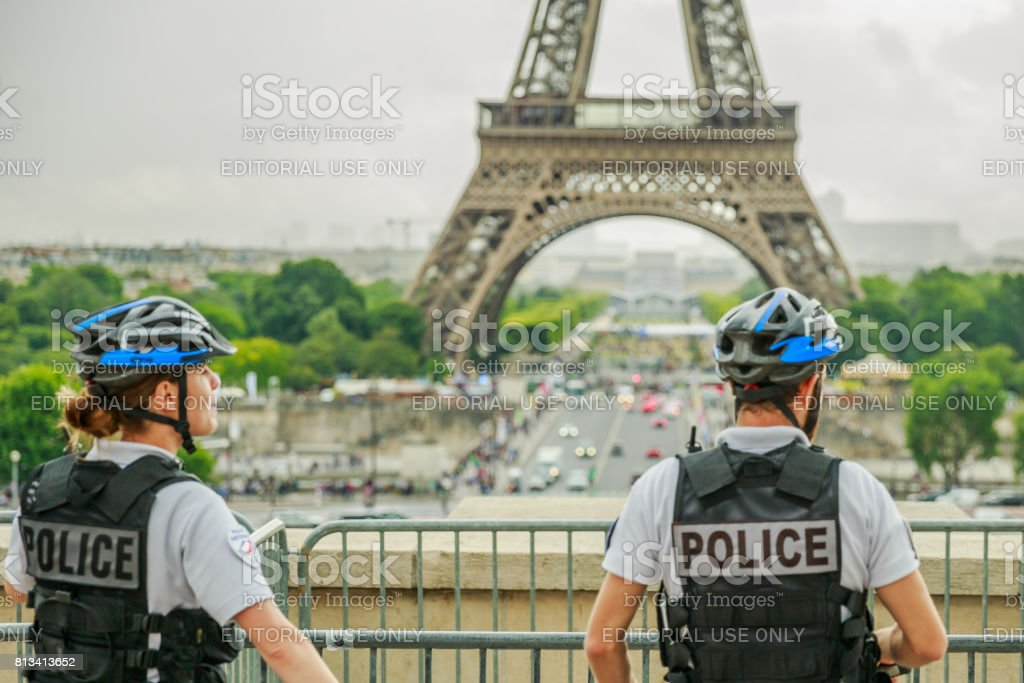 Eiffel Tower Police stock photo