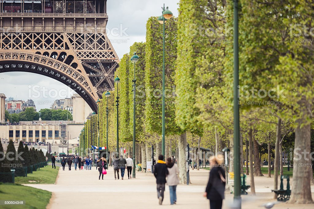 Eiffel Tower promenade stock photo